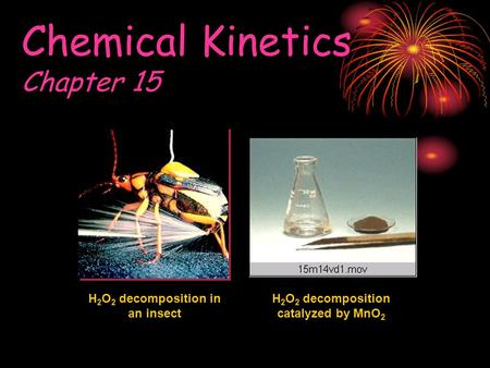 Chemical Kinetics Chapter 15 H 2 O 2 decomposition in an insect H 2 O 2 decomposition catalyzed by MnO 2.
