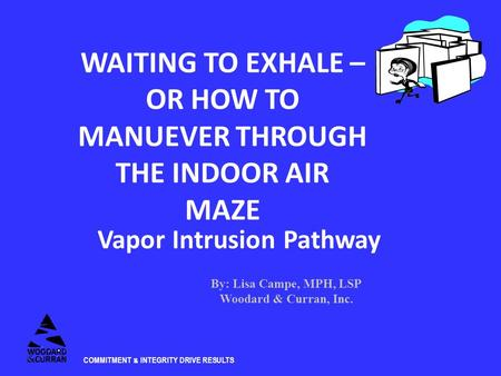 COMMITMENT & INTEGRITY DRIVE RESULTS WAITING TO EXHALE – OR HOW TO MANUEVER THROUGH THE INDOOR AIR MAZE Vapor Intrusion Pathway By: Lisa Campe, MPH, LSP.