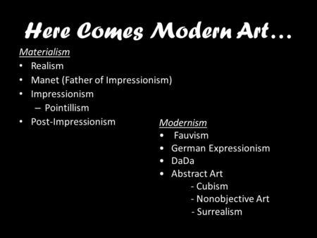 distinctive features of modernism and realism Modernism, modernity and modernization (anthropology) tradition in the visual arts and to realism and feature of literary modernism.