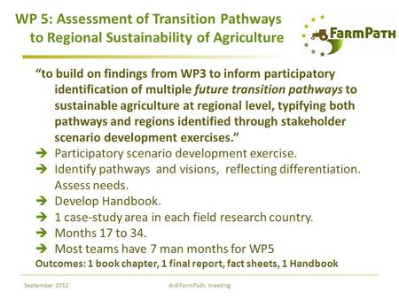 "WP 5: Assessment of Transition Pathways to Regional Sustainability of Agriculture ""to build on findings from WP3 to inform participatory identification."