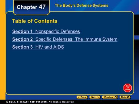 Chapter 47 Table of Contents Section 1 Nonspecific Defenses