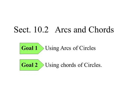Sect. 10.2 Arcs and Chords Goal 1 Using Arcs of Circles Goal 2 Using chords of Circles.