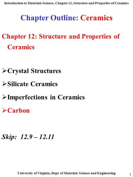 Chapter Outline: Ceramics