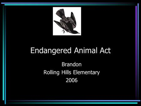 Endangered Animal Act Brandon Rolling Hills Elementary 2006.