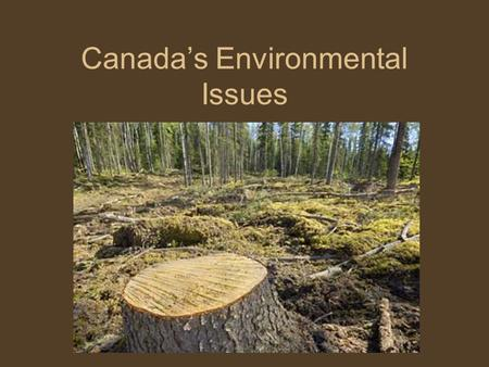 Canada's Environmental Issues. Essential Question What are Canada's 3 major Environmental Issues?
