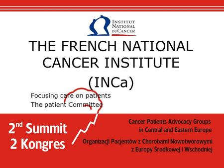 THE FRENCH NATIONAL CANCER INSTITUTE (INCa) Focusing care on patients The patient Committee.