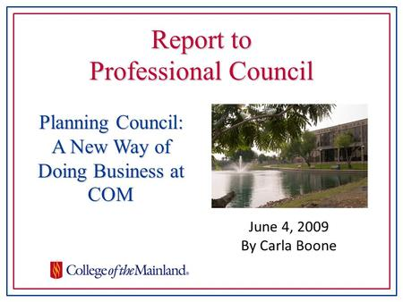 Report to Professional Council June 4, 2009 By Carla Boone Planning Council: A New Way of Doing Business at COM.