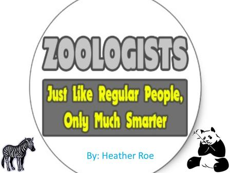 By: Heather Roe.  Zoologists are life scientists who study animals, observe them in the laboratory and in their natural habitat.  They're also known.