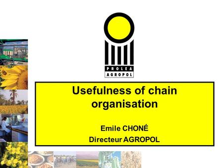 Usefulness of chain organisation Emile CHONÉ Directeur AGROPOL.