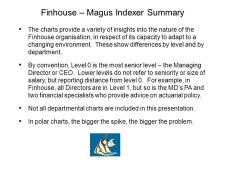 Finhouse – Magus Indexer Summary The charts provide a variety of insights into the nature of the Finhouse organisation, in respect of its capacity to adapt.
