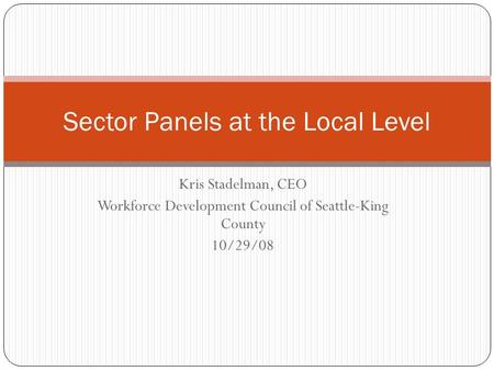 Kris Stadelman, CEO Workforce Development Council of Seattle-King County 10/29/08 Sector Panels at the Local Level.
