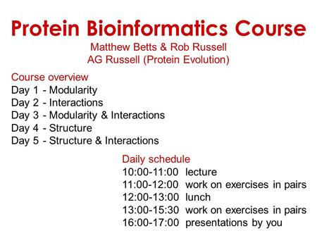 Protein Bioinformatics Course
