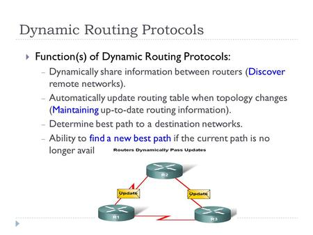 Dynamic Routing Protocols  Function(s) of Dynamic Routing Protocols: – Dynamically share information between routers (Discover remote networks). – Automatically.