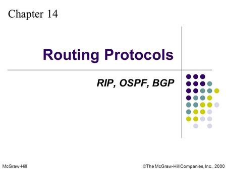 McGraw-Hill©The McGraw-Hill Companies, Inc., 2000 Chapter 14 Routing Protocols RIP, OSPF, BGP.