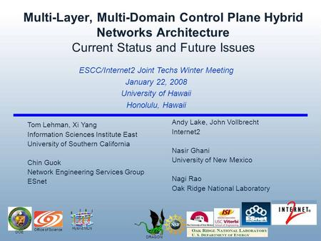 Hybrid MLN DOE Office of Science DRAGON Multi-Layer, Multi-Domain Control Plane Hybrid Networks Architecture Current Status and Future Issues Andy Lake,