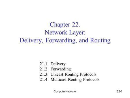 Computer Networks22-1 Chapter 22. Network Layer: Delivery, Forwarding, and Routing 21.1 Delivery 21.2 Forwarding 21.3 Unicast Routing Protocols 21.4 Multicast.