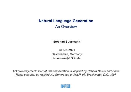 Natural Language Generation An Overview