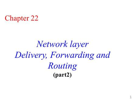 1 Chapter 22 Network layer Delivery, Forwarding and Routing (part2)