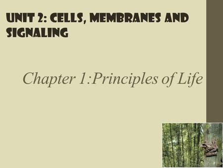 Chapter 1:Principles of Life Unit 2: Cells, membranes and signaling.
