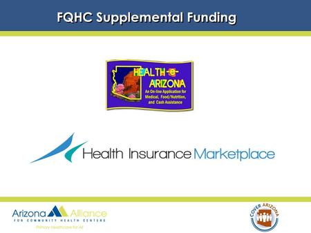 FQHC Supplemental Funding. FQHC's Requirements A.Expand outreach & enrollment capacity a. Maintain expertise in AHCCCS eligibility and add Marketplace.