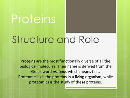 Proteins Structure and Role