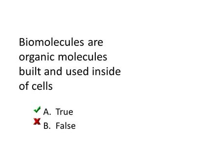 Biomolecules are organic molecules built and used inside of cells A.True B.False.
