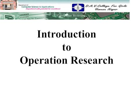 Introduction to Operation Research