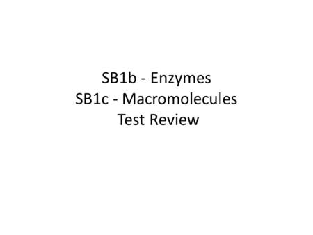 SB1b - Enzymes SB1c - Macromolecules Test Review.