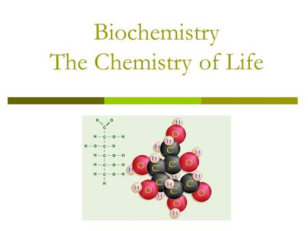 Biochemistry The Chemistry of Life. Basic Chemistry  Element – pure substance that consists entirely of one type of atom  Ex. Hydrogen (H), Helium (He)