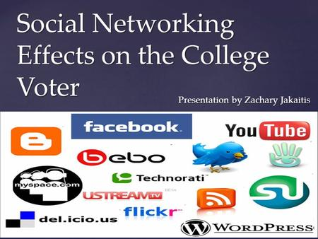 { Social Networking Effects on the College Voter Presentation by Zachary Jakaitis.