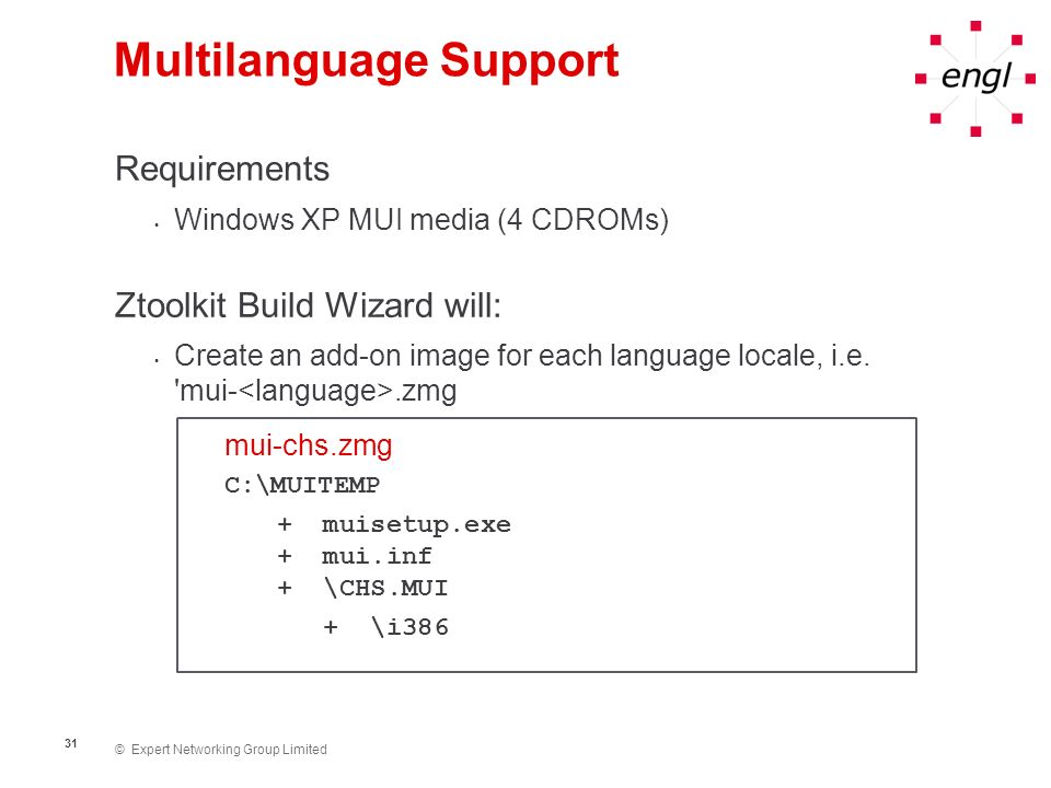 © Expert Networking Group Limited 32 Multilanguage Support Automating installation