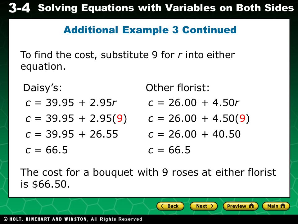 3-4 Solving Equations with Variables on Both Sides Check It Out.