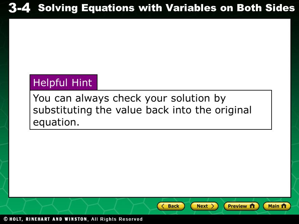 3-4 Solving Equations with Variables on Both Sides Solve.
