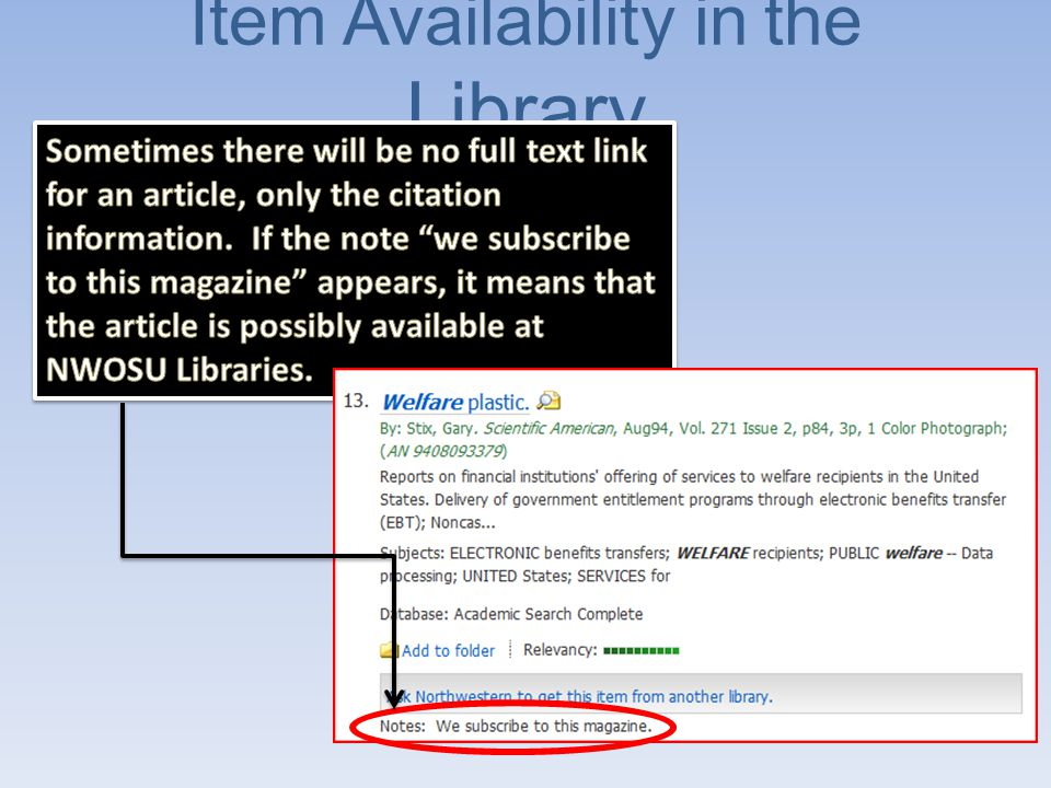 Source Information Go to the library homepage and use the NWOSU Online Catalog to find out if the issue of the journal you need is available in the library.