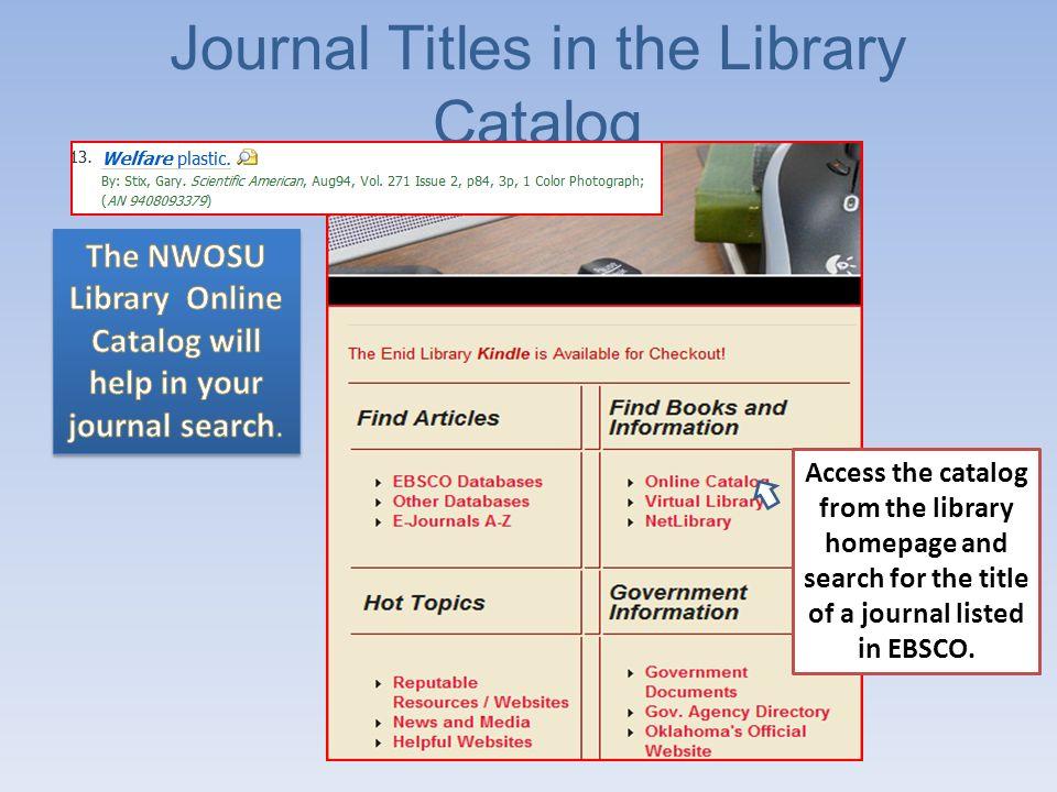 Journal Title Keyword Search
