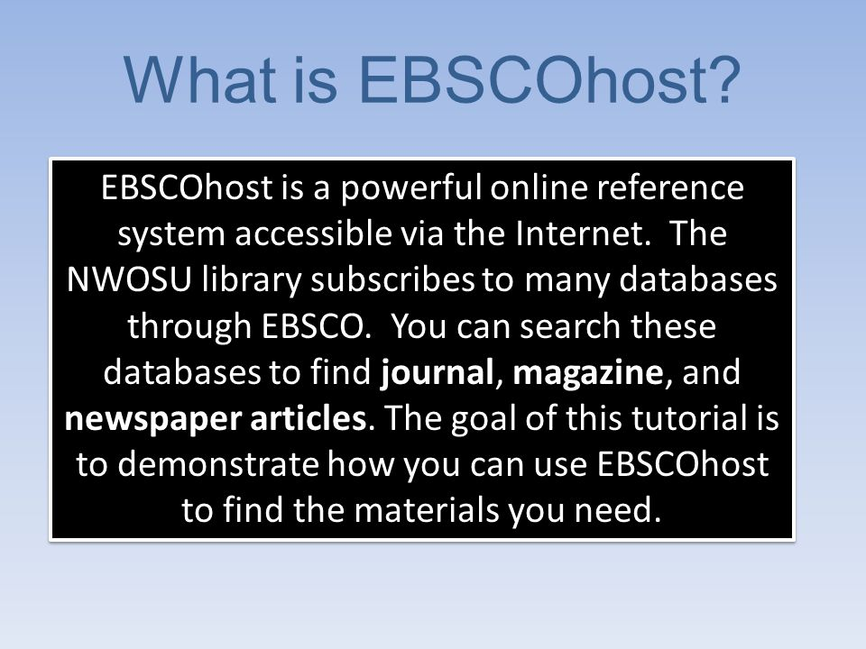 Access EBSCOhost