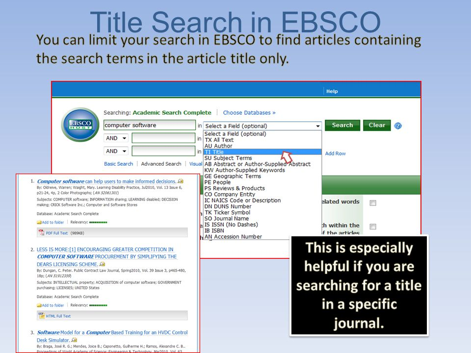Journal Name Search in EBSCO