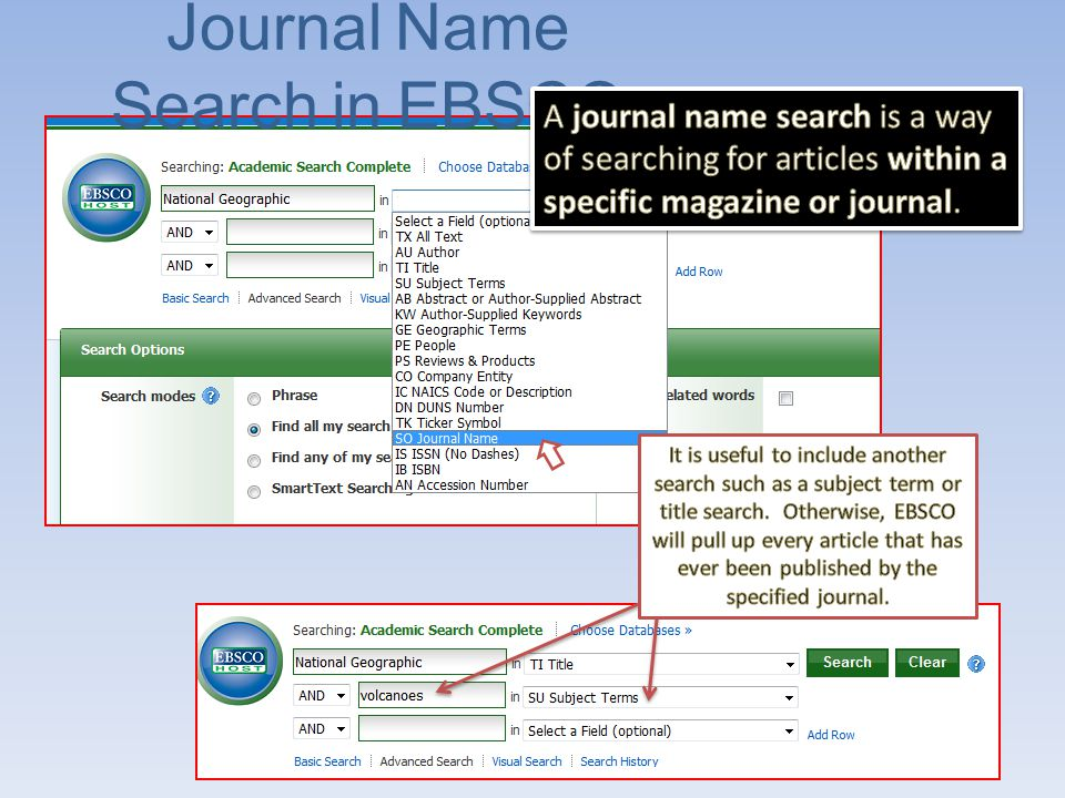 Results of a Journal Name Search When you do a Journal Name Search, all of your results will be from the journal you named as a source.