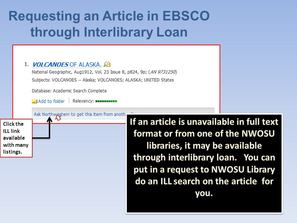 Information for Interlibrary Loan Just fill out your personal contact information and click submit at the bottom of the screen.