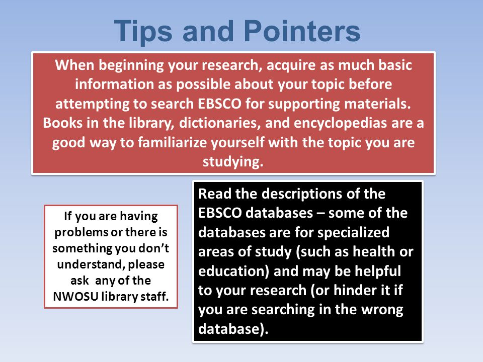 A Few More Don't spread your search out over too many databases.