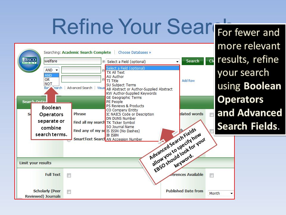 Subject Search Type your keyword or phrase, choose Subject Terms from the dropdown menu and click search.
