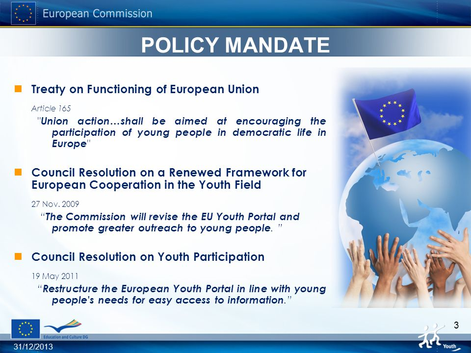 31/12/2013 4 Members of European Parliament MEP Brantner - Proposal for a pilot project on a Youth Platform A way to connect for young activists …directly with other young people interested in the same area in other European countries is lacking.