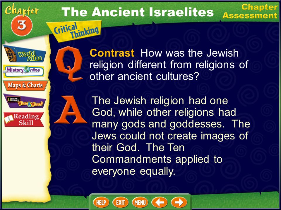 Contrast How was the Jewish religion different from religions of other ancient cultures.