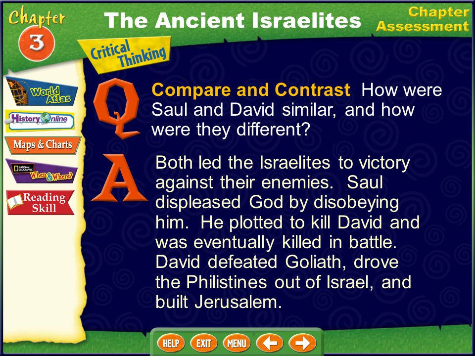 Compare and Contrast How were Saul and David similar, and how were they different.