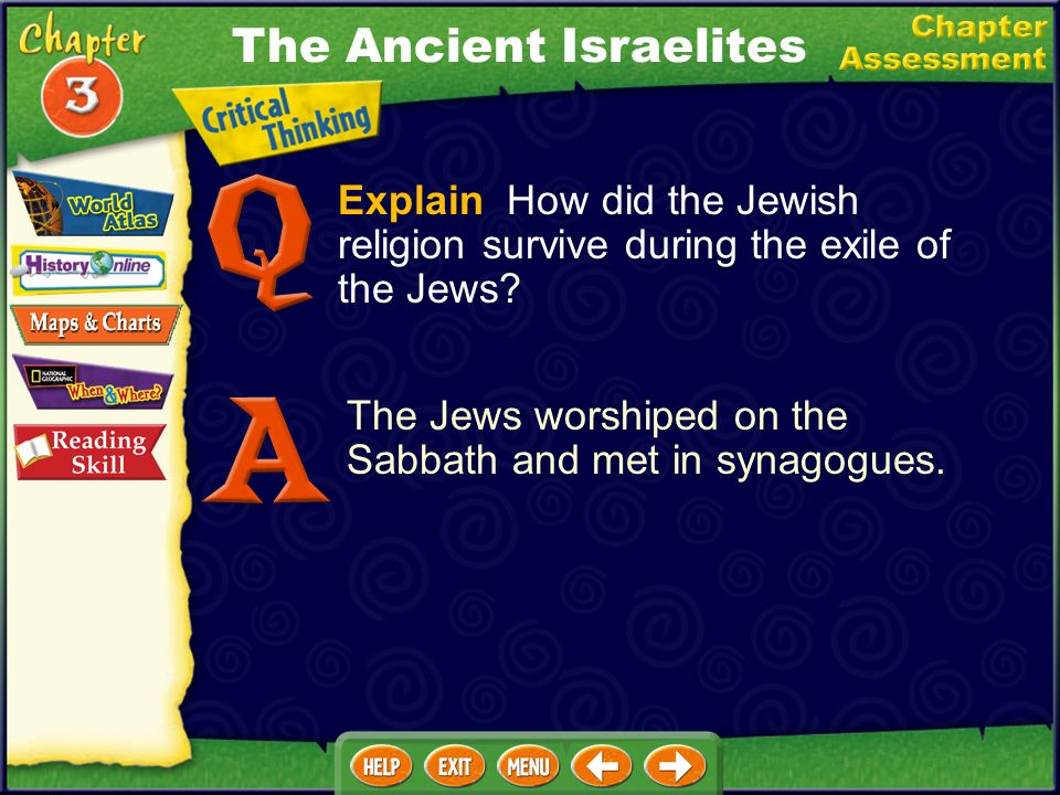 Explain How did the Jewish religion survive during the exile of the Jews.