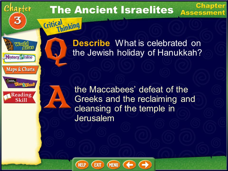 Describe What is celebrated on the Jewish holiday of Hanukkah.