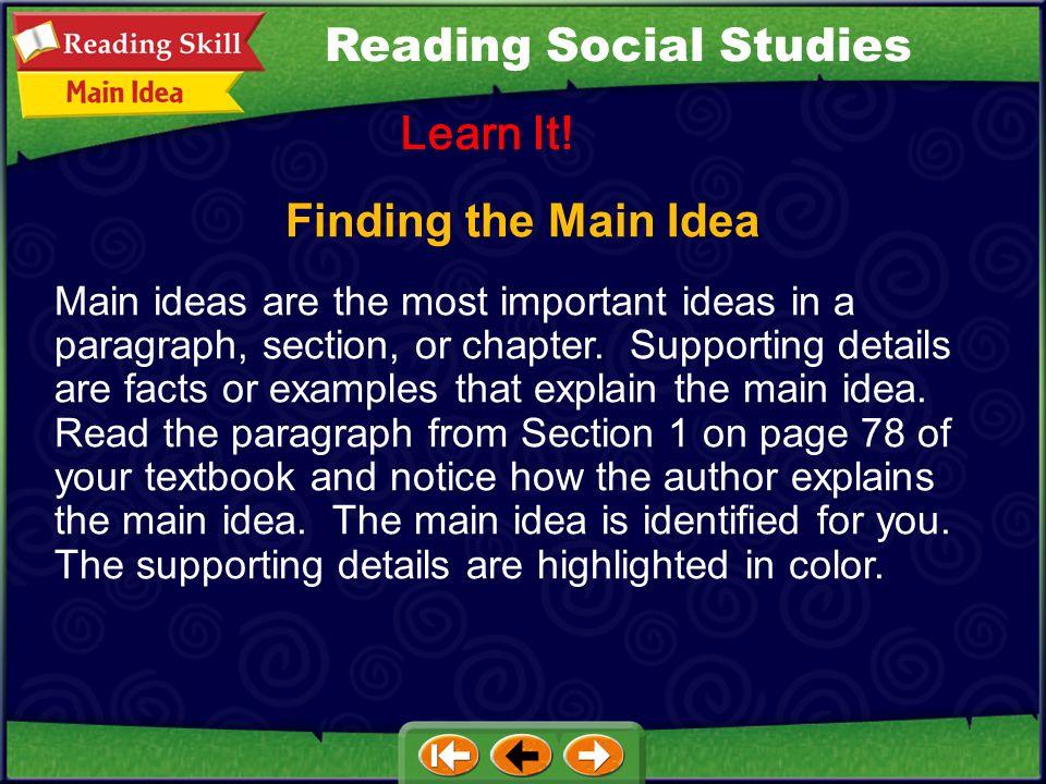 Finding the Main Idea Learn It.