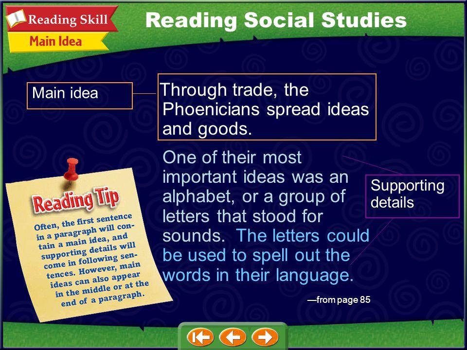 Main idea Through trade, the Phoenicians spread ideas and goods.