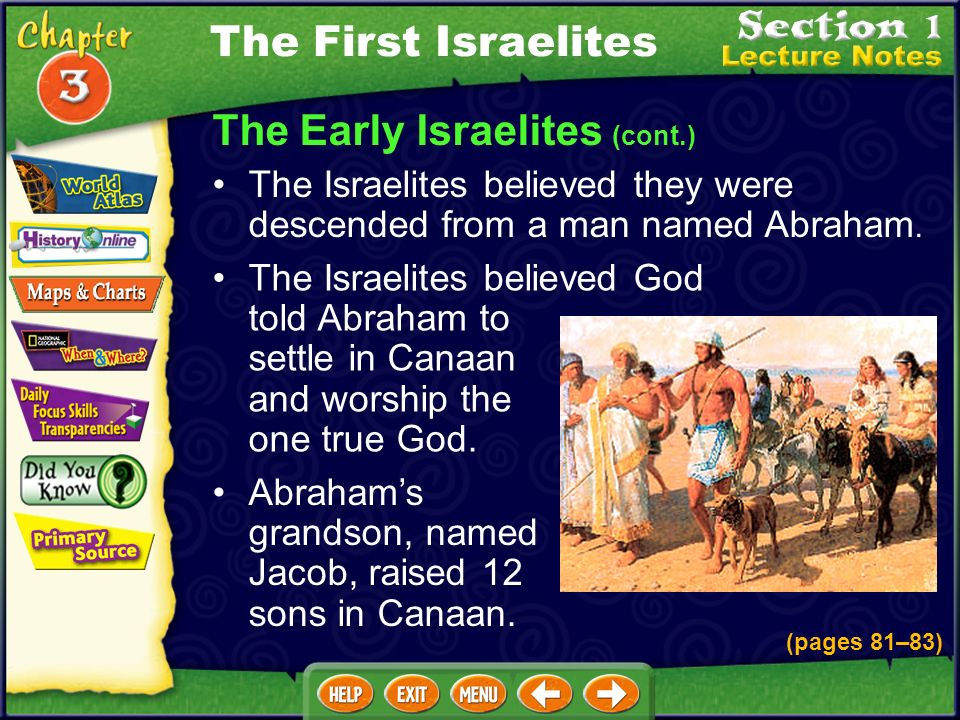 The Early Israelites (cont.) The Israelites believed they were descended from a man named Abraham.
