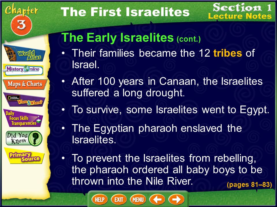 The Early Israelites (cont.) After 100 years in Canaan, the Israelites suffered a long drought.